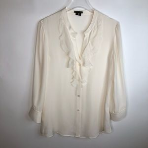 Theory Silk Off White Long Sleeve Blouse
